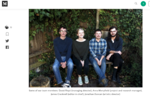 a photo in situ on medium of Social Spider Team members involved in our community media work: team members: David Floyd (managing director), Anna Merryfield (project and research manager), James Cracknell (editor in chief), Jonathan Duncan (artistic director)